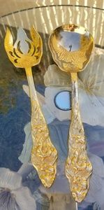 GOLDEN DECORATIVE SERVING SPOON AND FORK